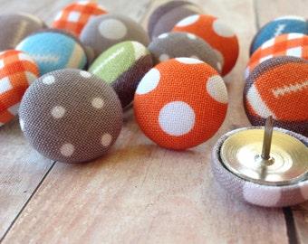 Thumbtacks,15 Pushpins,Push Pins,Thumbtacks,Thumb Tacks,Orange and Gray Football,Orange and Gray,Home Office,Boys Room,Football,Teacher Gift