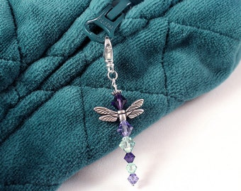 Crystal Dragonfly Charm - Woodland Creature Zipper Pull, Peridot Green, Tanzanite, Deep Purple Velvet Crystals, Silver Wings