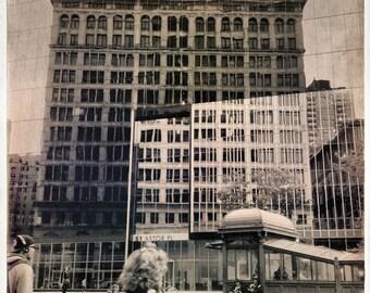 City Reflection Photo, mirror building art print, NYC Photography, city street scene, Manhattan vintage looking photo, Urban Home Decor.