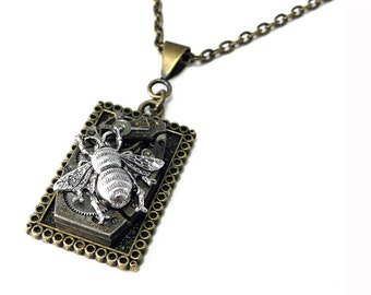 Steampunk Necklace - Brass Square Watch Movement Victorian Silver Bee Necklace - Handmade by Compass Rose Design