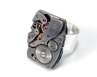 Steampunk Ring Silver Square Clockwork Antique Large Cocktail Ring Watch Movement Real Ruby Jewels on Wide Hammered Silver Plated Band