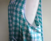 Pinafore Apron Farm Girl Country Gingham Bias Tape Full Upcycled - Size Extra Large