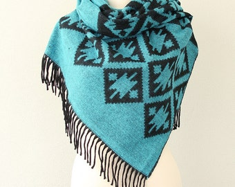 Blanket scarf Boho chic shawl Tribal winter scarf Native Aztec scarves Winter wrap Bohemian Geometric large hippie scarf Turquoise black