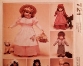 """Sewing Pattern 18"""" Doll Clothes Uncut 1999 Dresses Skirt Apron Jackets Bonnet Pinafore American Girl"""