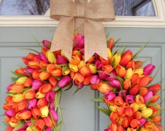 Spring Wreath - Spring Tulip Wreath - Spring Tulip Door Wreath