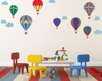 Hot Air Balloons Decals Non-toxic REUSABLE Fabric Wall Decals Decal, A177