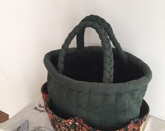 SALE---Picnic Bag, Handmade Picnic Bag, Vintage Picnic Bag