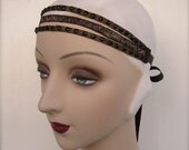 gold flapper triple banded edwardian headpiece or flapper band in black and gold 1910's 1920s headband - odette - made to order