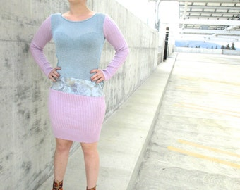 Upcycled Dress Upcycled Sweater Knit Tshirt Recycled Clothing Pastel Flowers Reconstructed Handmade Knit Eco Dress Rose Pink Light Blue S/M