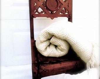 Midcentury Modern Afghan Throw Midcentury Modern Blanket Living Room Throw Beige Natural Wool 1960 60s