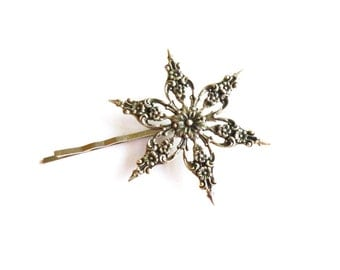 Silver Snowflake Hair Clip Bridal Bobby Pin Bride Bridesmaid Winter Wedding Accessories Vintage Style Victorian Unique Womens Gift For Her