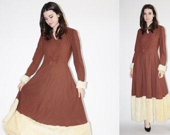 1950s Faux Fur Dress - Vintage 50s  Dress - The Zhivago  Dress  - 8064
