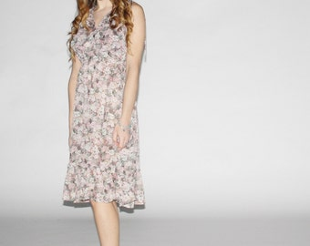 Vintage Floral Dress - Floral Midi Dress  - The Wishmaker Dress - 10026