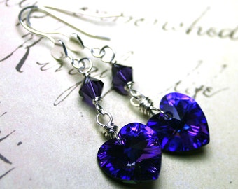 Wire Wrapped Swarovski Crystal Heart Earrings in Heliotrope Purple - Heart Earwires - Sterling Silver and Swarovski Crystal