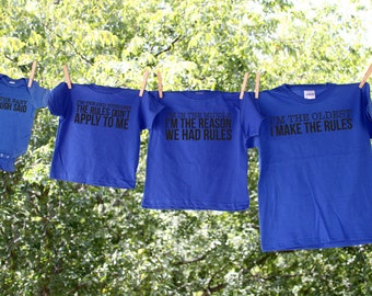 Sibling Shirts Set of 5 // Family Shirts // Reunion shirts // Oldest, Middle, Youngest, Baby // Custom Tshirts