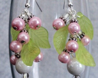 Floral Dangle Earrings, Dangle Earrings, Spring Earrings, Prom Earrings, Shabby Chic Earrings, Shabby Chic Jewelry - FLORAL IVY