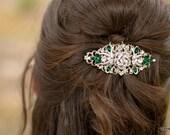 Bridal Rhinestone Hair Comb,Wedding Rhinestone Hair Comb,Rose Rhinestone Hair Comb,Swarovski Crystals,Emerald Green Wedding Jewelry ROSELANI