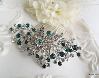Bridal Hair Comb, wedding hair accessories, wedding hair comb, green hair comb, rhinestone hair comb, swarovski crystal hair comb, KATY