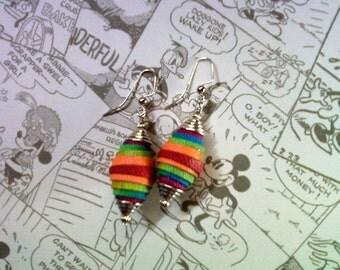 Rainbow Denim Earrings (1651)