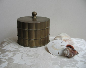 Vintage Brass Box Faux Bamboo With Rope Detailing Round Hinged Metal Box Storage Canister, Made in India, Nautical Pier Beach Decor