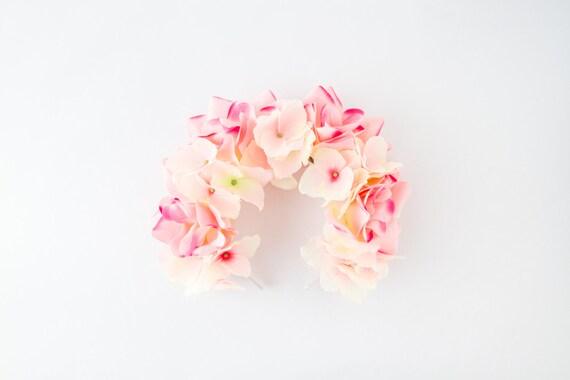 peach pink flower crown headband // festival crown, floral headpiece, wedding bridal headpiece, garden party