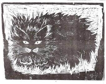 A cat, an original woodblock print