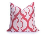 Moroccan Quatrefoil Lattice Decorative Pillow Cover - 18 inch - Coral - Trellis Pillow - Designer Pillow - Pink Pillow - Salmon Pillow