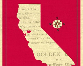 California Map Print, California Heart Print, California State Travel Print, Vintage California Art, California SF  Print, style E8-O-SF15