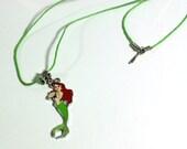 Green Princess Ariel Mermaid Charm Movie Necklace - girls necklace - girls teens womens necklace