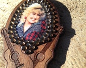 Dolly Parton rhinestone necklace.  Laser cut wood guitar necklace.