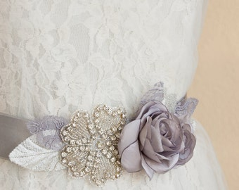 Silver Sash, Rhinestone Belt, Rhinestone Sash, Bridal Sash, Bridal Belt, Grey Sash, Gray Sash, Floral Bridal Belt