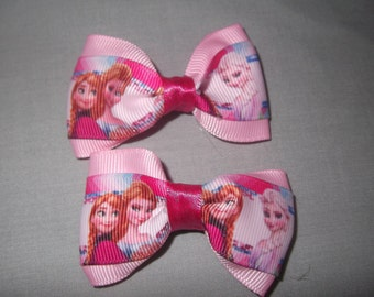 Pair of Pink Disney frozen Hair bow clips