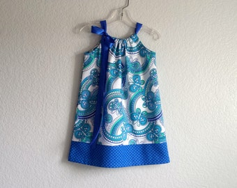 New! Girls Butterfly Pillowcase Dress - Blue and White with Butterflies - Girls Sun Dress - Size 12m, 18m, 2T, 3T, 4T, 5, 6, 8, or 10