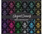 "Glitter Sparkle Elegant Damask Digital Scrapbook Paper Background Set 12 Piece Digi Pack - 12"" x 12"" 300dpi JPEG - CU OK*"