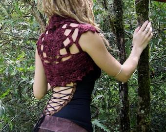 Lace Faery Crochet Mandala Shrug Vest in Mahogany