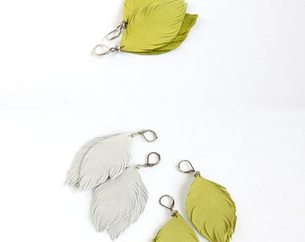 Leather feather earrings in lemon yellow  and suede leather earrings in light grey. Set of two