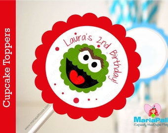 Oscar The Grouch  Cupcake Toppers, 12 Personalized Cupcake Toppers Birthday A1163