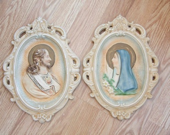 Vintage Chalkware Jesus and Mary, Blessed Mother, Vintage Jesus, Virgin Mary,  Sacred Heart, Religious Statue, Religious Art, Easter Decor