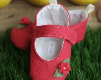 Baby Girl Shoes, Toddler Girl Shoes, Strawberry Pink Wool Mary Janes, Soft Sole Baby Booties