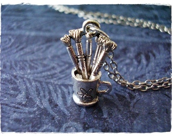 Silver Paintbrushes Necklace - Silver Pewter Paintbrushes Charm on an Silver Plated Cable Chain or Charm Only