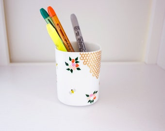 Honey Making - Hand Painted Porcelain Pencil Cup