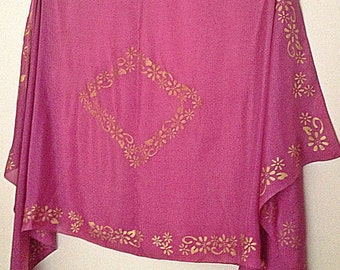 Dusty Rose Pink Belly Dance Veil with gold edging