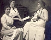 Three EDWARDIAN Women One READING One SEWING In Wonderful Pose Photo Postcard Dated 1913