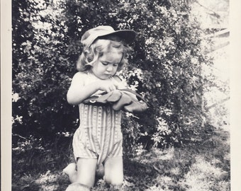 Darling Little Girl With BASEBALL CAP and GLOVE Photo Circa 1950s