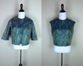 RESERVED 60s Brocade Set / 1960s Jacket & Top Set / Turquoise Golden Crop Jacket Tank Margot-Barry M L