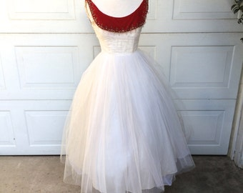 50s White Tulle Prom Dress with Red Velvet Bateau Neckline XS Vintage Ivory Cocktail Party Dress