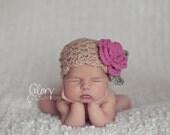 Crochet Baby Girl Hat - Newborn Girl Crochet Hat - Newborn Props Girl - Newborn Baby Girl Hat - Baby Girl Beanie - Newborn Hat Girl - Pink