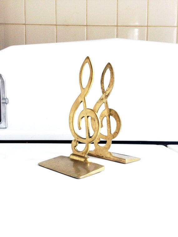 Vintage brass treble clef bookends by sergeantsailor on etsy - Treble clef bookends ...