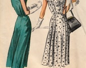1950s Sunday Dress Pattern  McCalls 4127  Pretty Frock with Yoke and Neckline Detail Circa 1957  Bust 44