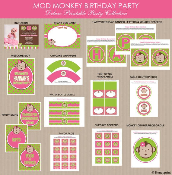 Pink Mod Monkey Birthday Party Package | Girl Mod Monkey Birthday Party Decorations | Girl Mod Monkey Party Printables